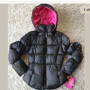 🆕Puffer Jacket Girls Sz S (6-7) Black Pink Macy's